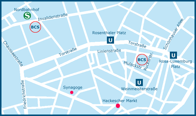 Map of the Berlin Cosmopolitan School Campuses